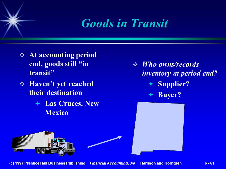(c) 1997 Prentice Hall Business Publishing Financial Accounting, 3/e Harrison and Horngren 6 - 61 Goods in Transit Who owns/records inventory at perio