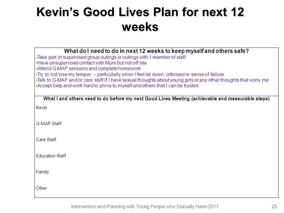 Kevins Good Lives Plan for next 12 weeks Intervention and Planning with Young People who Sexually Harm 2011 25 What do I need to do in next 12 weeks to keep myself and others safe.