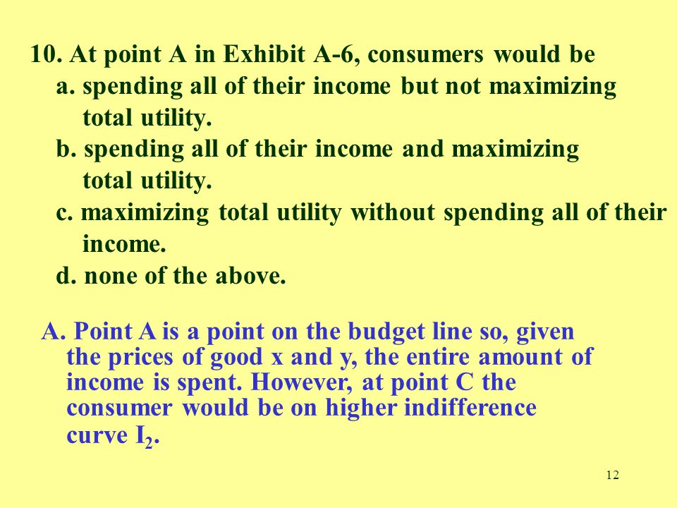 12 10. At point A in Exhibit A-6, consumers would be a. spending all of their income but not maximizing total utility. b. spending all of their income