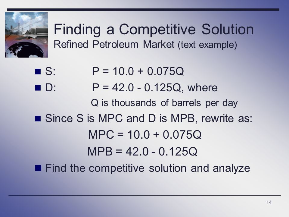14 Finding a Competitive Solution Refined Petroleum Market (text example) S:P = 10.0 + 0.075Q D:P = 42.0 - 0.125Q, where Q is thousands of barrels per