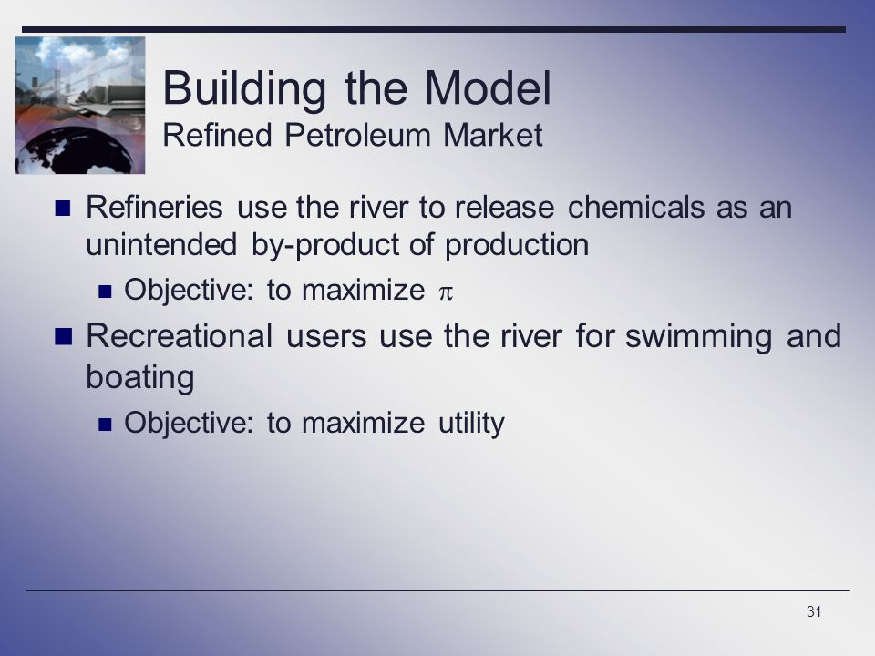 31 Building the Model Refined Petroleum Market Refineries use the river to release chemicals as an unintended by-product of production Objective: to m