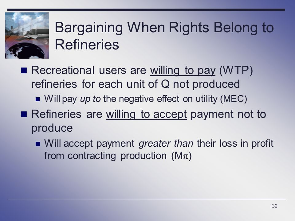 32 Bargaining When Rights Belong to Refineries Recreational users are willing to pay (WTP) refineries for each unit of Q not produced Will pay up to t