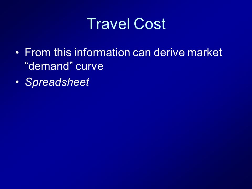 Travel Cost From this information can derive market demand curve Spreadsheet