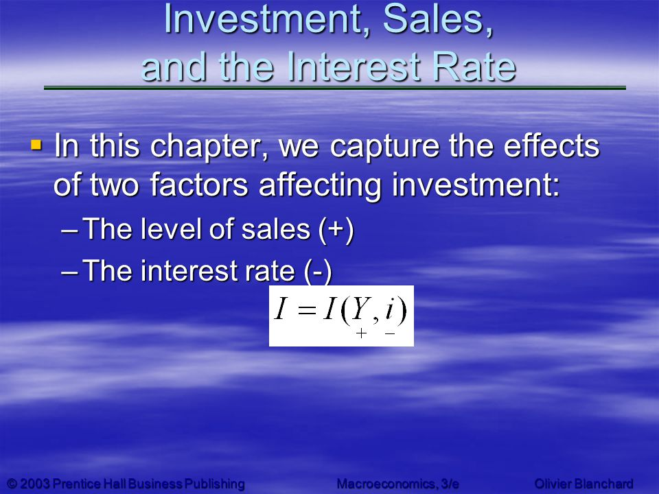 © 2003 Prentice Hall Business PublishingMacroeconomics, 3/e Olivier Blanchard Investment, Sales, and the Interest Rate In this chapter, we capture the