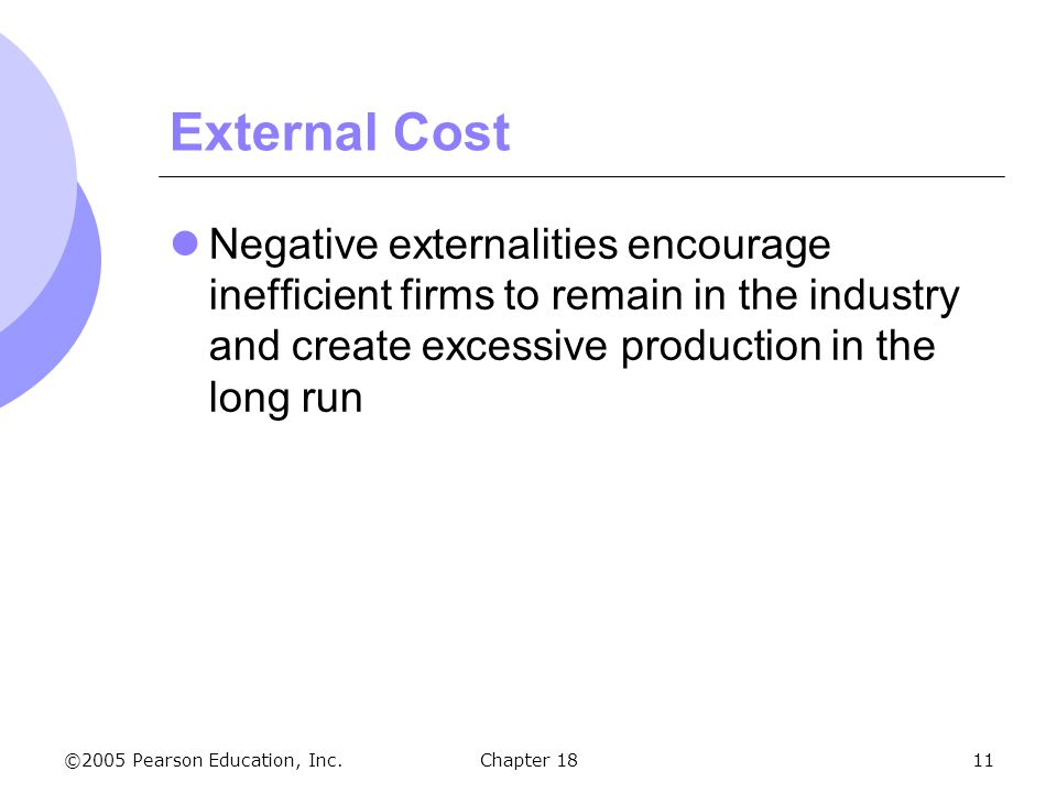 ©2005 Pearson Education, Inc.Chapter 1811 External Cost Negative externalities encourage inefficient firms to remain in the industry and create excess
