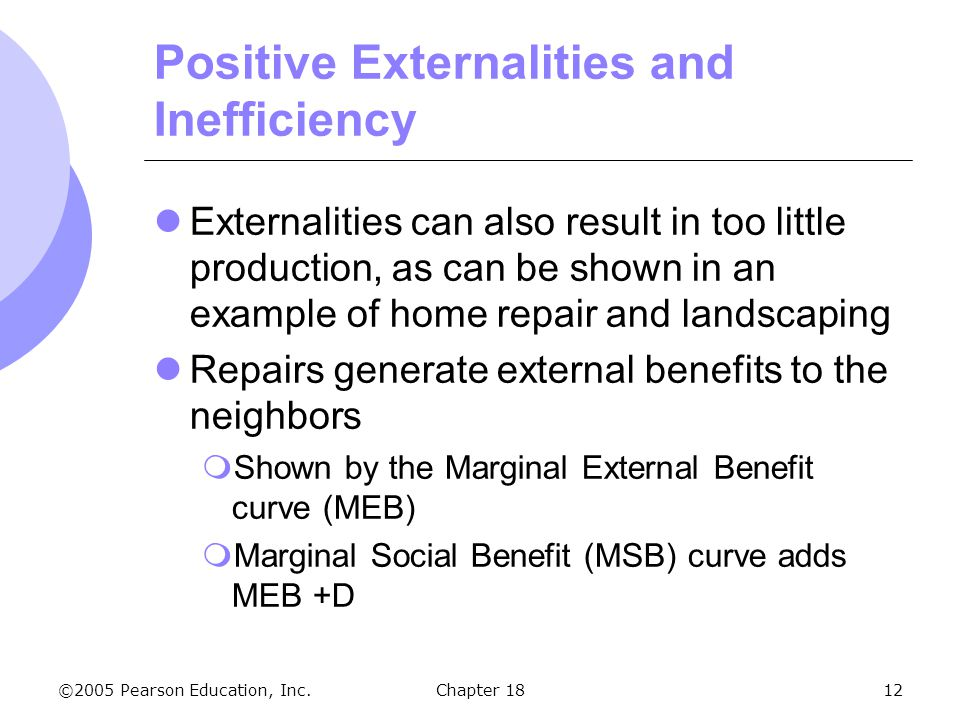 ©2005 Pearson Education, Inc.Chapter 1812 Positive Externalities and Inefficiency Externalities can also result in too little production, as can be sh