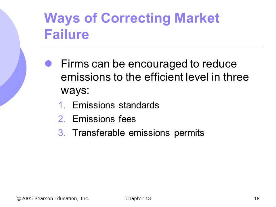 ©2005 Pearson Education, Inc.Chapter 1818 Ways of Correcting Market Failure Firms can be encouraged to reduce emissions to the efficient level in thre