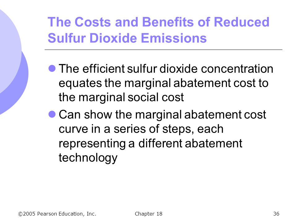 ©2005 Pearson Education, Inc.Chapter 1836 The Costs and Benefits of Reduced Sulfur Dioxide Emissions The efficient sulfur dioxide concentration equate