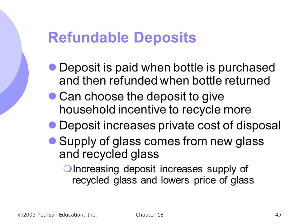 ©2005 Pearson Education, Inc.Chapter 1845 Refundable Deposits Deposit is paid when bottle is purchased and then refunded when bottle returned Can choo