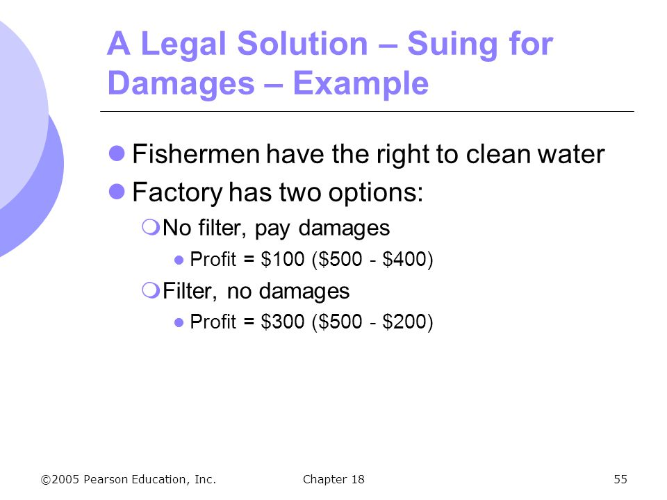 ©2005 Pearson Education, Inc.Chapter 1855 A Legal Solution – Suing for Damages – Example Fishermen have the right to clean water Factory has two optio