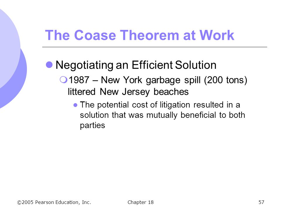 ©2005 Pearson Education, Inc.Chapter 1857 The Coase Theorem at Work Negotiating an Efficient Solution 1987 – New York garbage spill (200 tons) littere