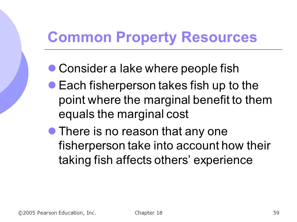 ©2005 Pearson Education, Inc.Chapter 1859 Common Property Resources Consider a lake where people fish Each fisherperson takes fish up to the point whe