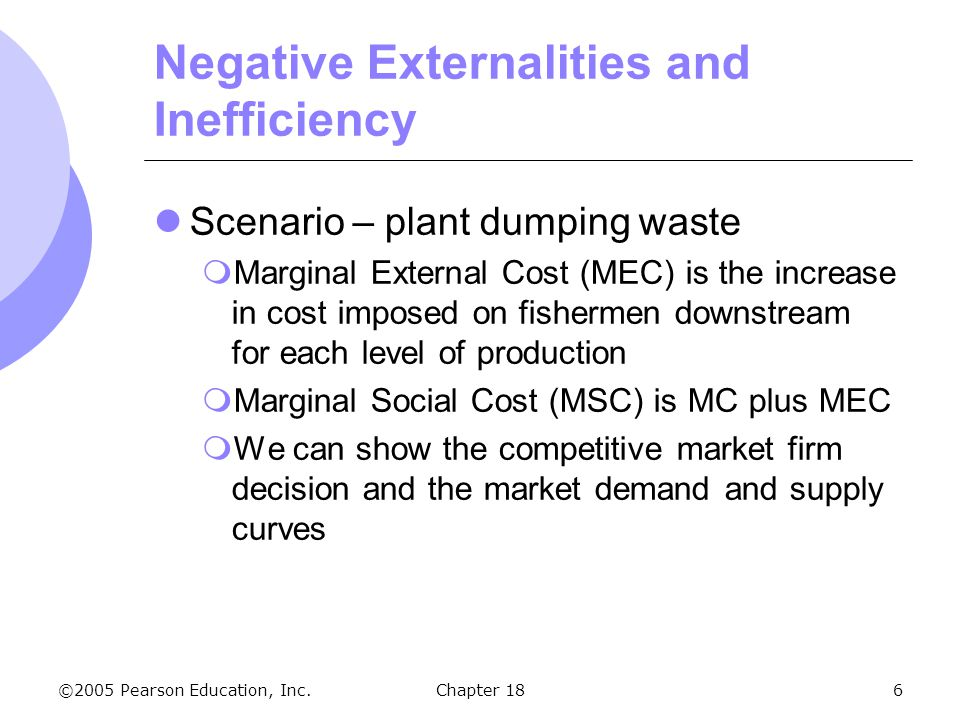©2005 Pearson Education, Inc.Chapter 186 Negative Externalities and Inefficiency Scenario – plant dumping waste Marginal External Cost (MEC) is the in