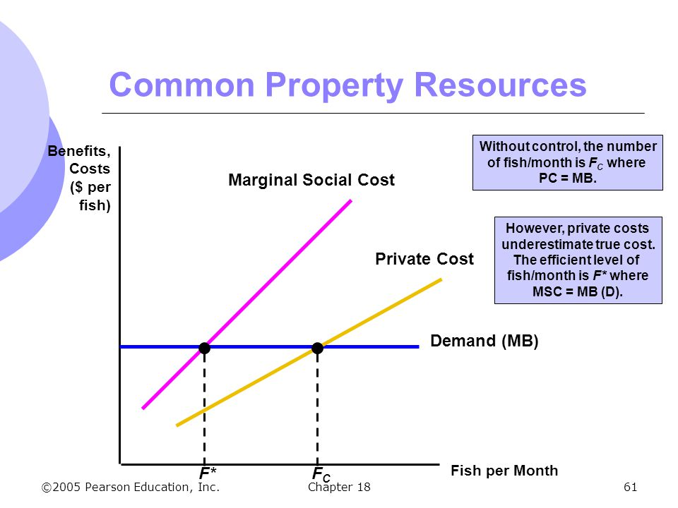 ©2005 Pearson Education, Inc.Chapter 1861 Common Property Resources Fish per Month Benefits, Costs ($ per fish) Demand (MB) However, private costs und