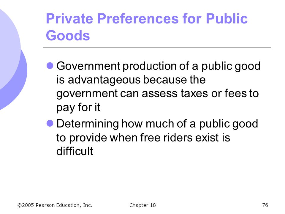 ©2005 Pearson Education, Inc.Chapter 1876 Private Preferences for Public Goods Government production of a public good is advantageous because the gove