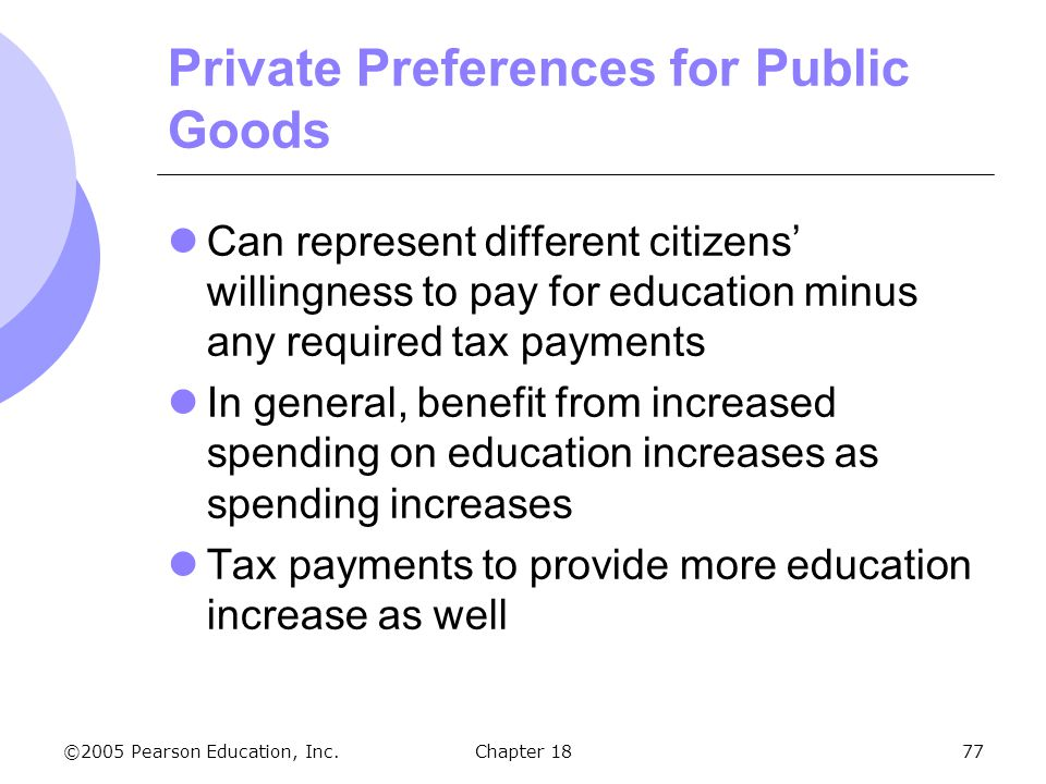©2005 Pearson Education, Inc.Chapter 1877 Private Preferences for Public Goods Can represent different citizens willingness to pay for education minus