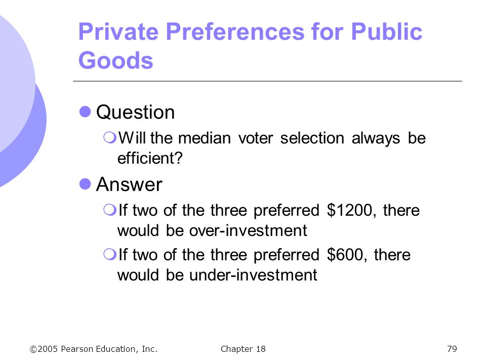 ©2005 Pearson Education, Inc.Chapter 1879 Private Preferences for Public Goods Question Will the median voter selection always be efficient? Answer If
