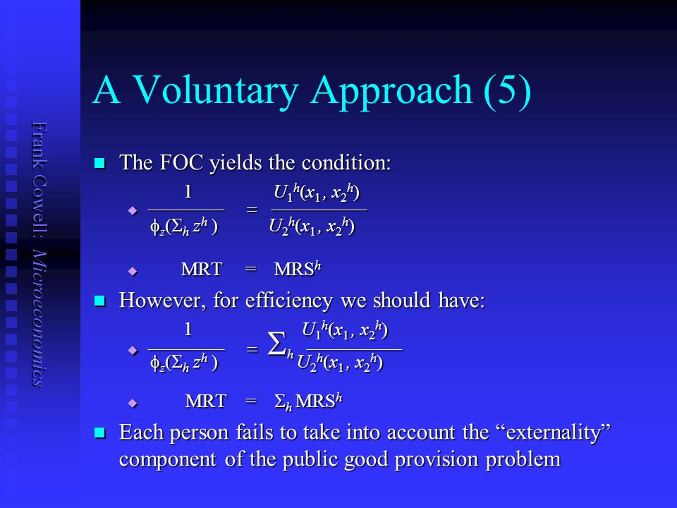 Frank Cowell: Microeconomics A Voluntary Approach (4) Suppose every household makes a Cournot assumption: Suppose every household makes a Cournot assu