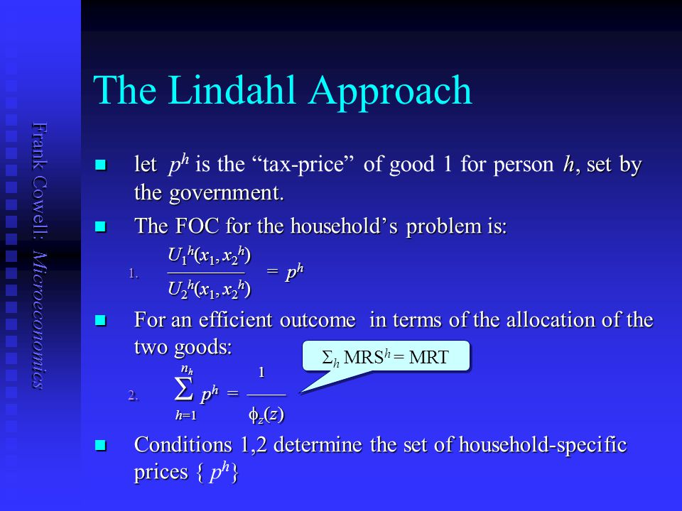Frank Cowell: Microeconomics Lindahl solution 1/ z x1x1 x1x1 * x1x1 x1x1 U a ()/U a () 1 2 U b ()/U b () 1 2 h U h ()/U h () Efficient allocation of p