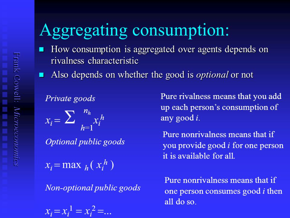 Frank Cowell: Microeconomics The implementation problem Why is the implementation part of the problem likely to be difficult in the case of pure public goods.