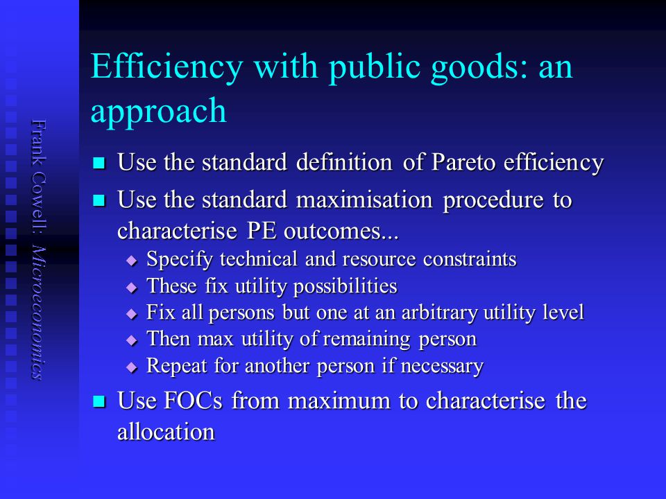 Frank Cowell: Microeconomics Example: choices If agent 1 declares… If agent 1 declares… v = v 1 then outcome is no project v = v 1 then outcome is no project reverses sign of willingness to pay – so must pay penalty reverses sign of willingness to pay – so must pay penalty gets payoff of –z 1 gets payoff of –z 1 v < v 1 then outcome and payoff are as above v < v 1 then outcome and payoff are as above v > v 1 then v > v 1 then if v v 1 is small, outcome and payoff are as above if v v 1 is small, outcome and payoff are as above if v v 1 is large, project goes ahead and payoff is v 1 if v v 1 is large, project goes ahead and payoff is v 1 If agent 2 declares… If agent 2 declares… v = v 2 then outcome is no project and gets payoff of 0 v = v 2 then outcome is no project and gets payoff of 0 v < v 2 then outcome and payoff are as above v < v 2 then outcome and payoff are as above v > v 2 then v > v 2 then if v v 2 is small, outcome and payoff are as above if v v 2 is small, outcome and payoff are as above if v v 2 is large, outcome reversed and payoff is v 2 + z 2 if v v 2 is large, outcome reversed and payoff is v 2 + z 2