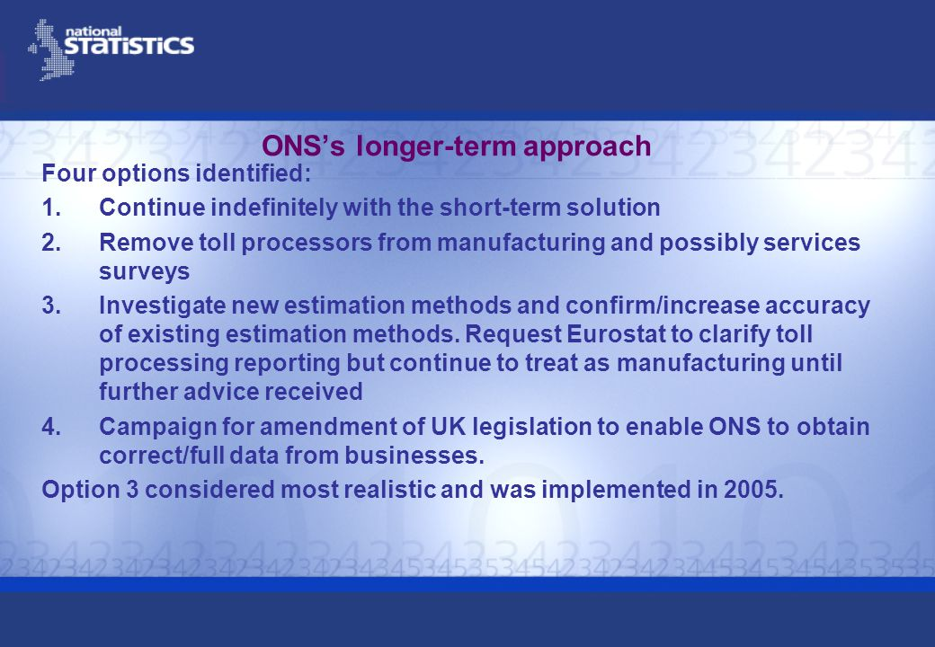ONSs longer-term approach Four options identified: 1.Continue indefinitely with the short-term solution 2.Remove toll processors from manufacturing and possibly services surveys 3.Investigate new estimation methods and confirm/increase accuracy of existing estimation methods.