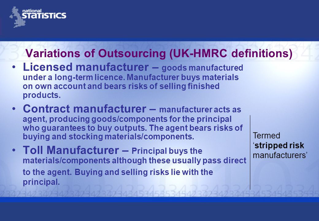 Variations of Outsourcing (UK-HMRC definitions) Licensed manufacturer – goods manufactured under a long-term licence.
