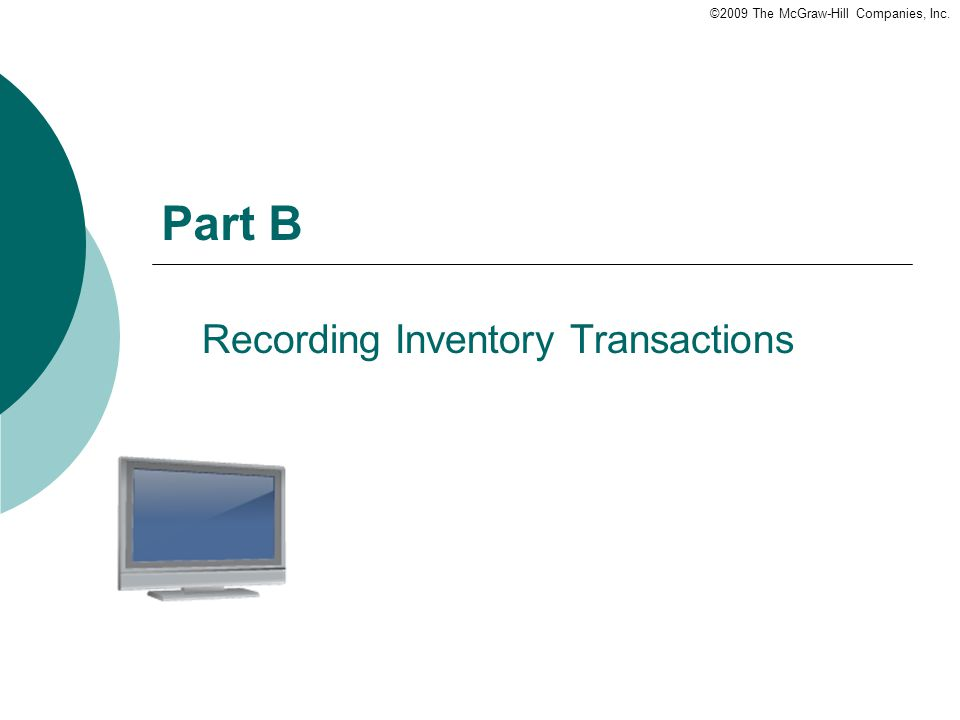 ©2009 The McGraw-Hill Companies, Inc. Part B Recording Inventory Transactions