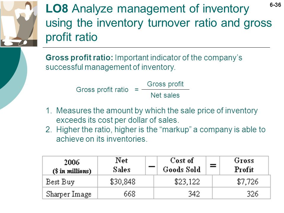 6-36 LO8 Analyze management of inventory using the inventory turnover ratio and gross profit ratio Gross profit ratio: Important indicator of the comp