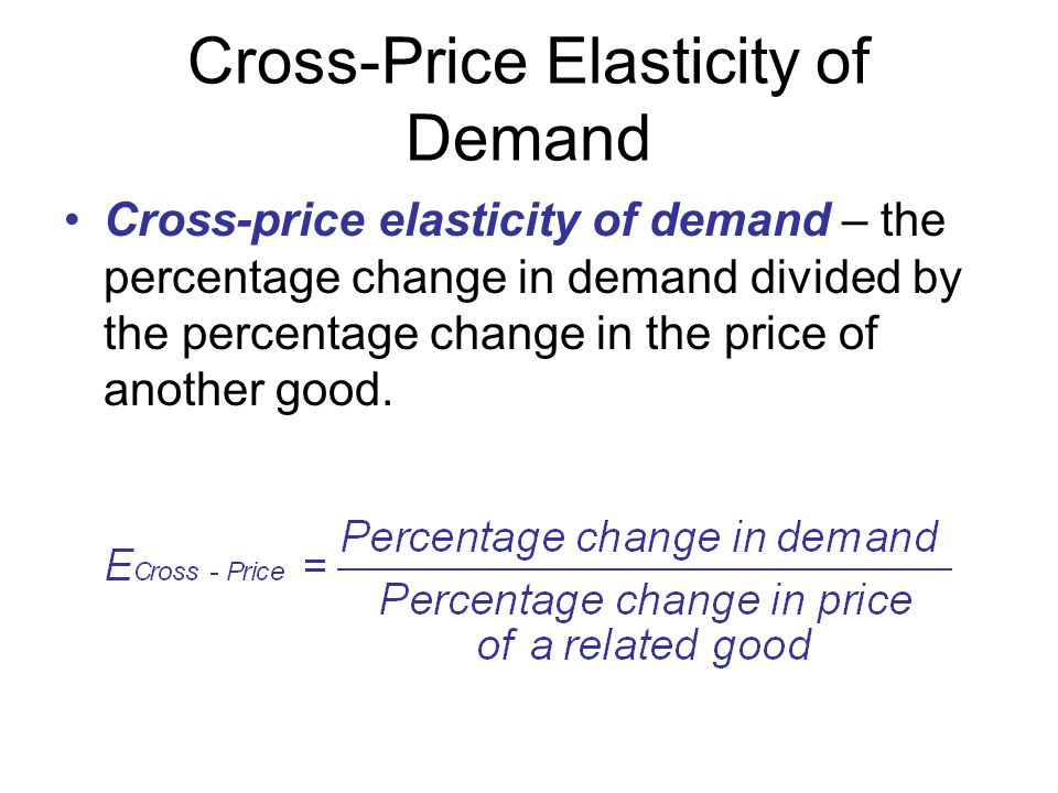 Cross-Price Elasticity of Demand Cross-price elasticity of demand – the percentage change in demand divided by the percentage change in the price of a