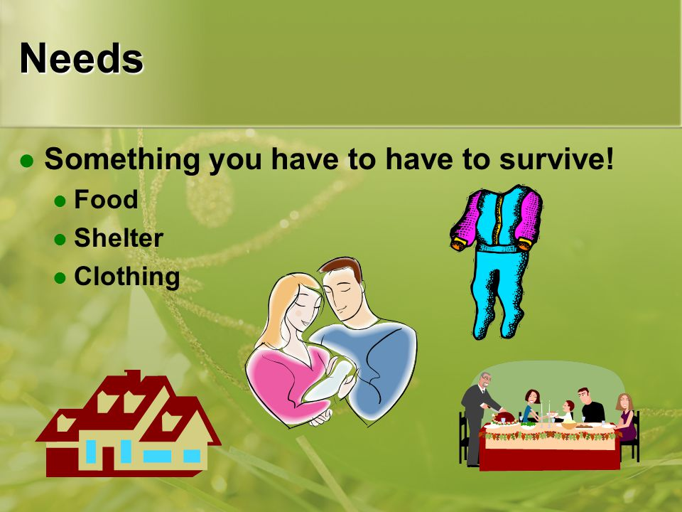 Needs Something you have to have to survive! Food Shelter Clothing