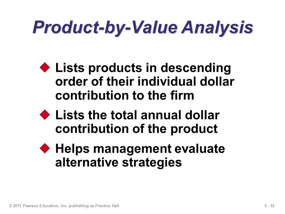 5 - 12© 2011 Pearson Education, Inc. publishing as Prentice Hall Product-by-Value Analysis Lists products in descending order of their individual doll