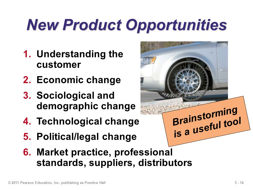 5 - 14© 2011 Pearson Education, Inc. publishing as Prentice Hall New Product Opportunities 1.Understanding the customer 2.Economic change 3.Sociologic