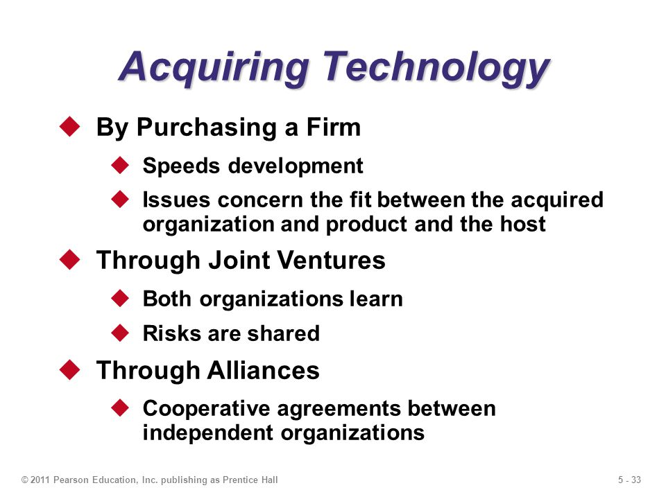 5 - 33© 2011 Pearson Education, Inc. publishing as Prentice Hall Acquiring Technology By Purchasing a Firm Speeds development Issues concern the fit b