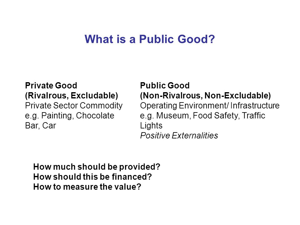 What is a Public Good. Private Good (Rivalrous, Excludable) Private Sector Commodity e.g.