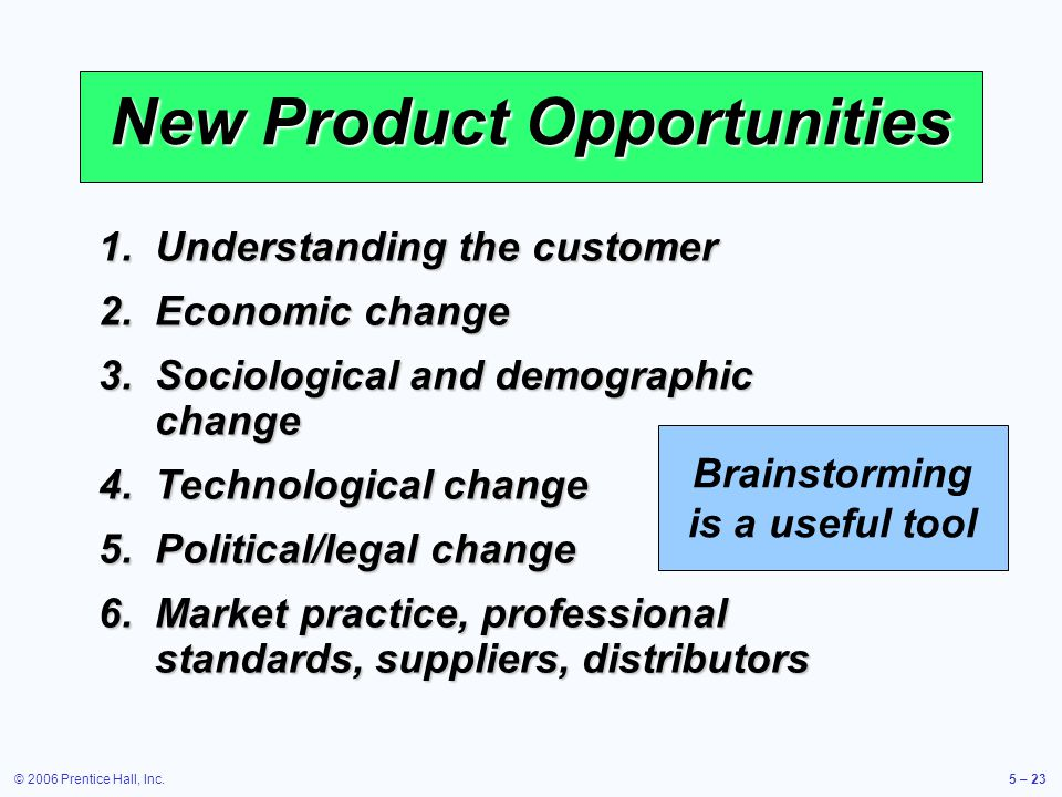 © 2006 Prentice Hall, Inc.5 – 23 New Product Opportunities Brainstorming is a useful tool 1.Understanding the customer 2.Economic change 3.Sociological and demographic change 4.Technological change 5.Political/legal change 6.Market practice, professional standards, suppliers, distributors