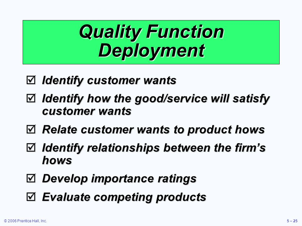 © 2006 Prentice Hall, Inc.5 – 25 Quality Function Deployment Identify customer wants Identify customer wants Identify how the good/service will satisfy customer wants Identify how the good/service will satisfy customer wants Relate customer wants to product hows Relate customer wants to product hows Identify relationships between the firms hows Identify relationships between the firms hows Develop importance ratings Develop importance ratings Evaluate competing products Evaluate competing products