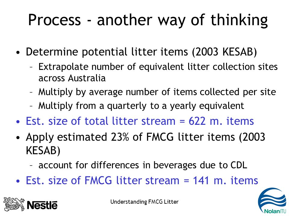 Understanding FMCG Litter Process - another way of thinking Determine potential litter items (2003 KESAB) –Extrapolate number of equivalent litter collection sites across Australia –Multiply by average number of items collected per site –Multiply from a quarterly to a yearly equivalent Est.