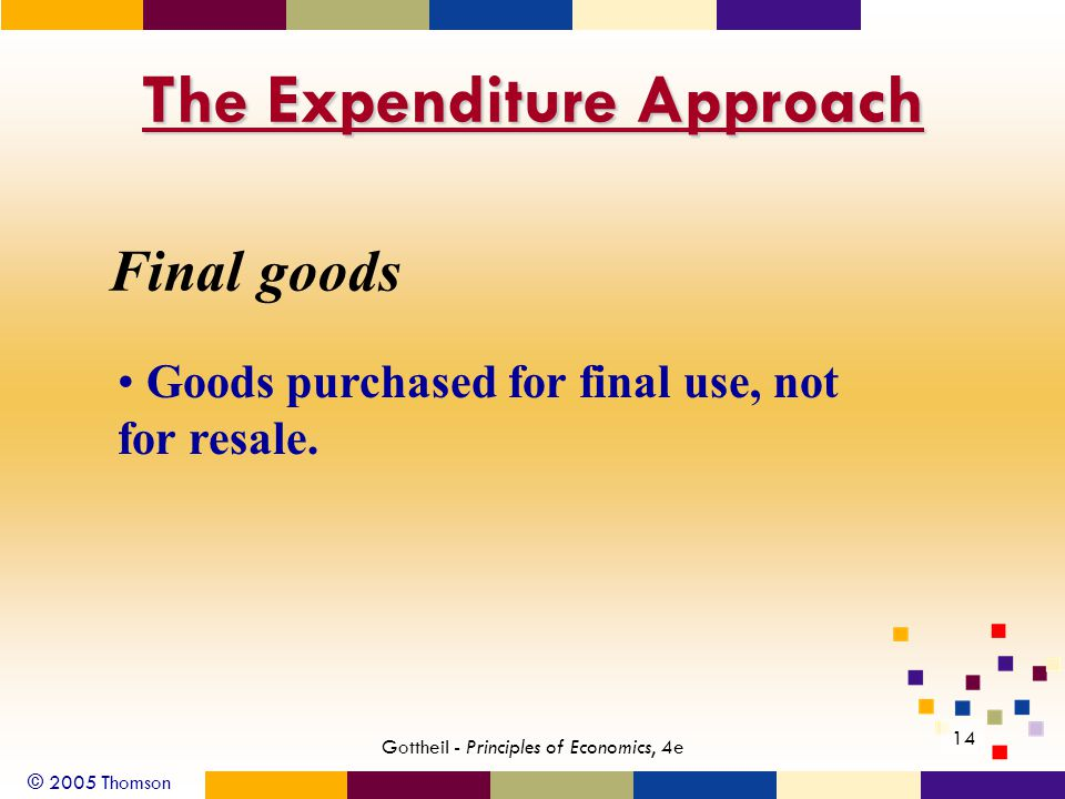 © 2005 Thomson 14 Gottheil - Principles of Economics, 4e The Expenditure Approach Final goods Goods purchased for final use, not for resale.
