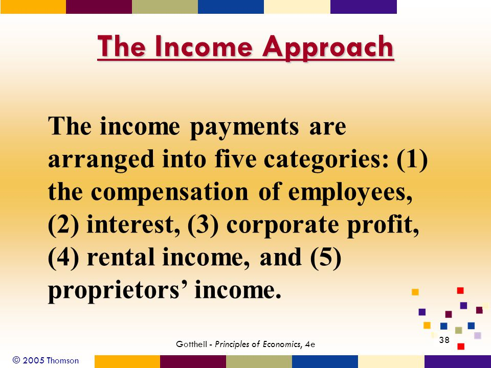 © 2005 Thomson 38 Gottheil - Principles of Economics, 4e The Income Approach The income payments are arranged into five categories: (1) the compensation of employees, (2) interest, (3) corporate profit, (4) rental income, and (5) proprietors income.