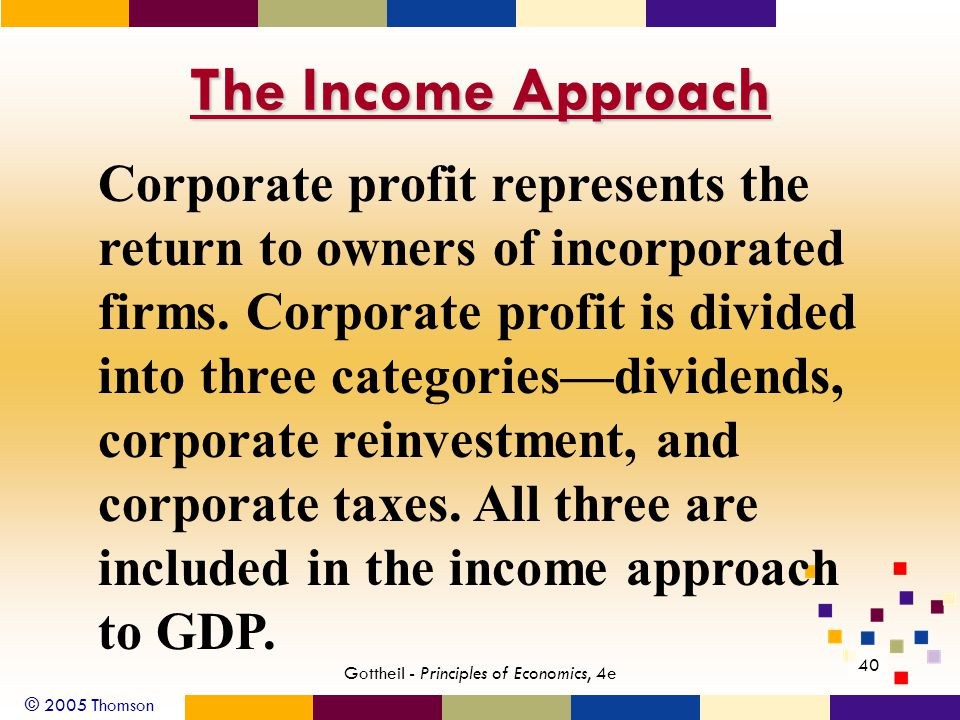 © 2005 Thomson 40 Gottheil - Principles of Economics, 4e The Income Approach Corporate profit represents the return to owners of incorporated firms. C