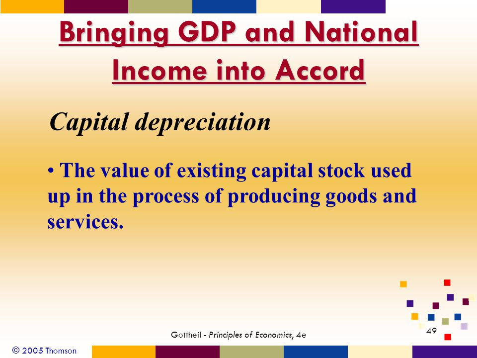 © 2005 Thomson 49 Gottheil - Principles of Economics, 4e Bringing GDP and National Income into Accord Capital depreciation The value of existing capit