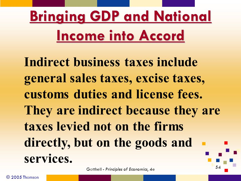 © 2005 Thomson 54 Gottheil - Principles of Economics, 4e Bringing GDP and National Income into Accord Indirect business taxes include general sales taxes, excise taxes, customs duties and license fees.