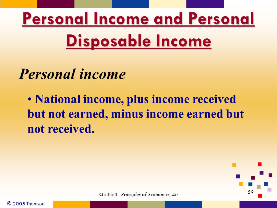 © 2005 Thomson 59 Gottheil - Principles of Economics, 4e Personal Income and Personal Disposable Income Personal income National income, plus income received but not earned, minus income earned but not received.