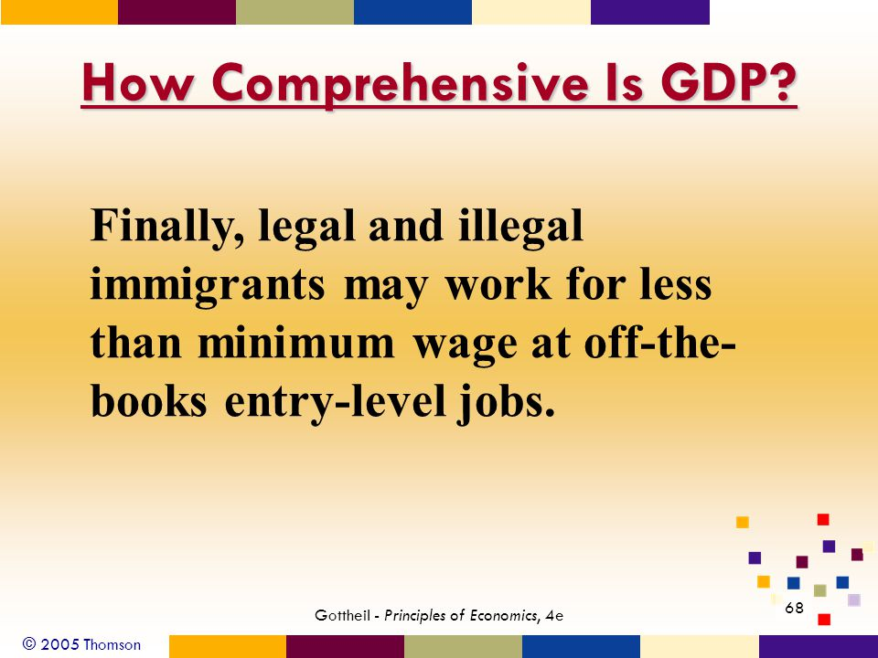 © 2005 Thomson 68 Gottheil - Principles of Economics, 4e How Comprehensive Is GDP? Finally, legal and illegal immigrants may work for less than minimu