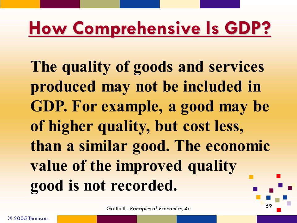 © 2005 Thomson 69 Gottheil - Principles of Economics, 4e How Comprehensive Is GDP.