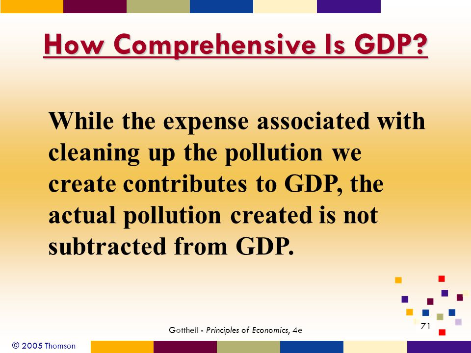 © 2005 Thomson 71 Gottheil - Principles of Economics, 4e How Comprehensive Is GDP? While the expense associated with cleaning up the pollution we crea