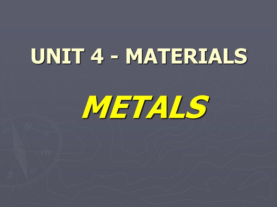 UNIT 4 - MATERIALS METALS