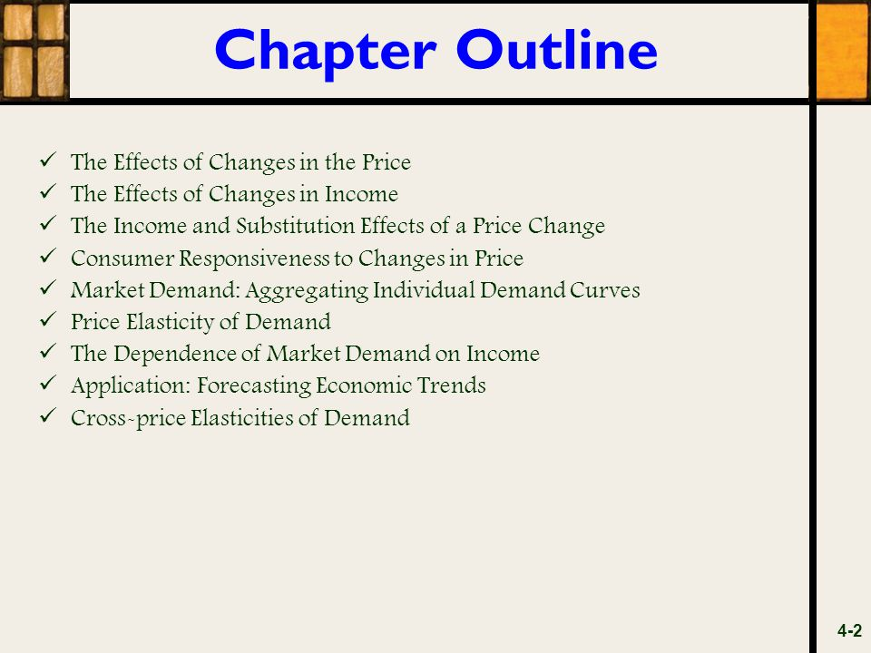 Chapter Outline The Effects of Changes in the Price The Effects of Changes in Income The Income and Substitution Effects of a Price Change Consumer Re