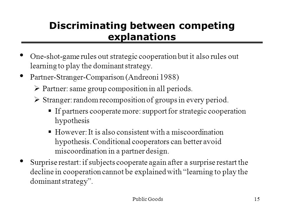Public Goods15 Discriminating between competing explanations One-shot-game rules out strategic cooperation but it also rules out learning to play the dominant strategy.